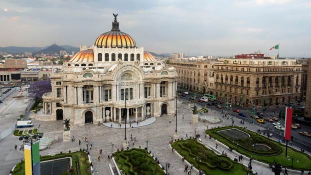Ansicht des Palacio de Bellas Artes in Mexico City.